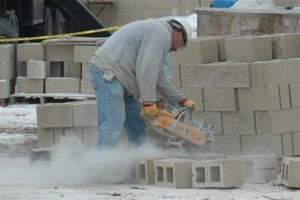 silica dust from cutting bricks