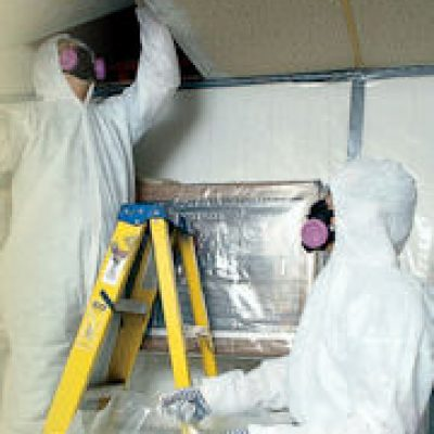 asbestos removal on ladder