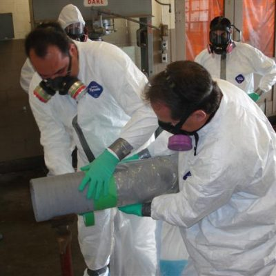 wrapping asbestos pipe