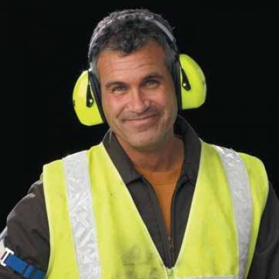 hearing man with ear protection